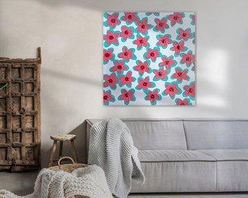 Blumen retro-rosa-rot aquaweiß von Bianca ter Riet