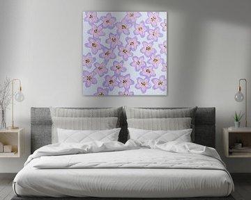 Blumen in Pastell-Retro-Rosa-Lila-Grün-Lila-Weiß von Bianca ter Riet