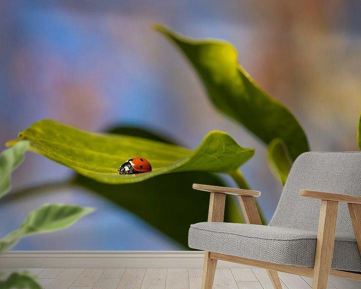 Sfeerimpressie behang: Lieveheersbeestje tussen de bladeren van Annika Westgeest Photography