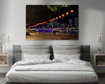 City skyline by night, Brisbane, Queensland - Australië van Ginkgo Fotografie