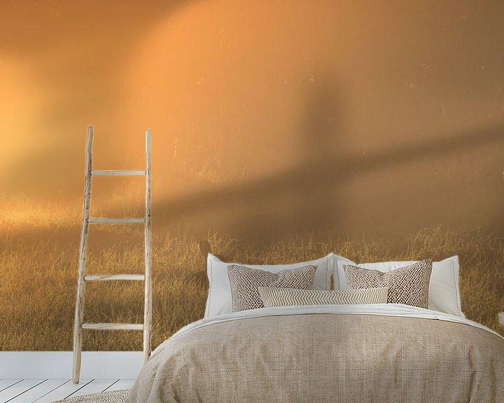 Sfeerimpressie behang: Konijn in gouden licht van Diane van Veen