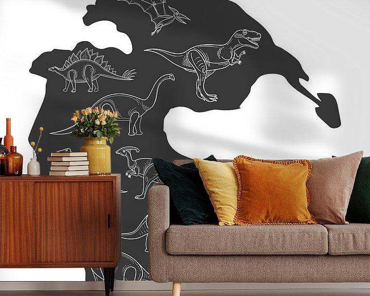 Sfeerimpressie behang: Dinosaurussen van Printed Artings