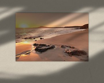 Papagayo strand bij zonsondergang, Lanzarote van Markus Lange