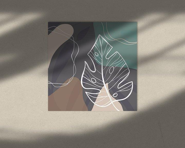 Beispiel: Stilistische Blätter, Formen und Linien: Sand, Braun und Petrol von Color Square