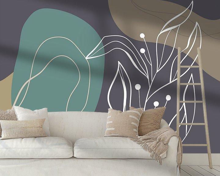 Beispiel fototapete: Stilistische Blätter, Formen und Linien: Sand, Braun und Petrol von Color Square