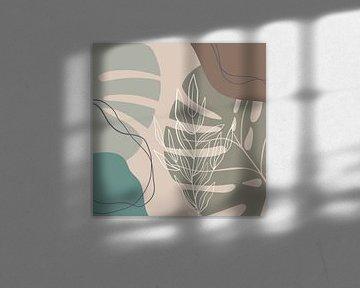 Stilistische bladeren, vormen en lijnen: zand, bruin en petrol van Color Square
