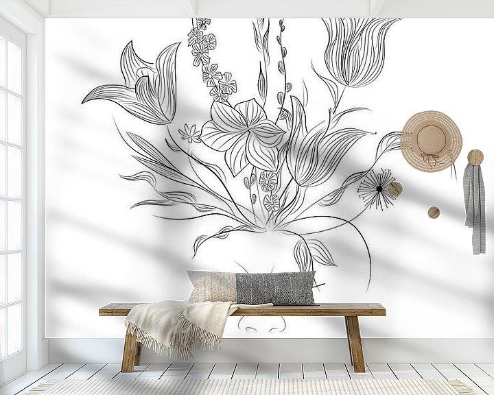 Beispiel fototapete: Flower Power - Blumen - Pflanzen - Schwarz-Weiss - Porträt von Studio Tosca