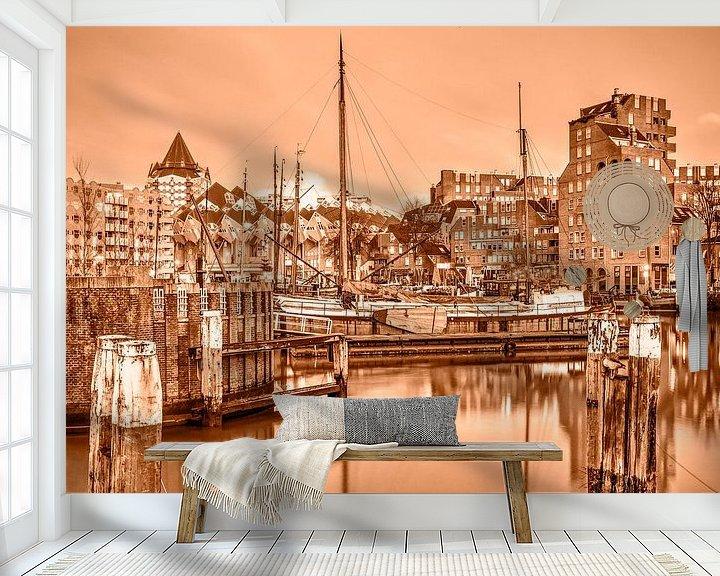 Sfeerimpressie behang: Rotterdam Oude Haven - monochroom van Frans Blok