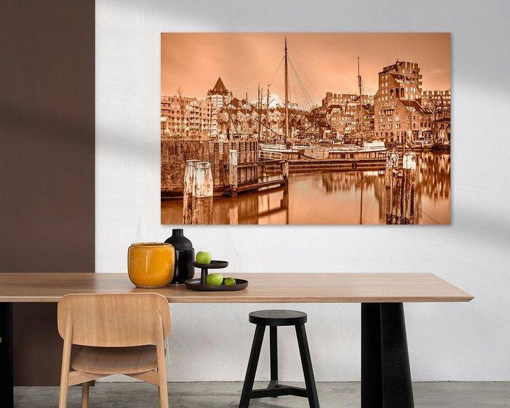 Sfeerimpressie: Rotterdam Oude Haven - monochroom van Frans Blok