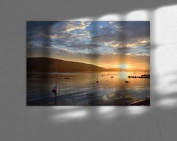 Lever de soleil sur le lac Wörthersee