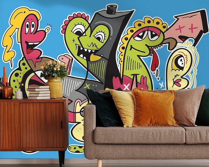 Sfeerimpressie behang: Graffiti Pop Art van Koen Haarbosch