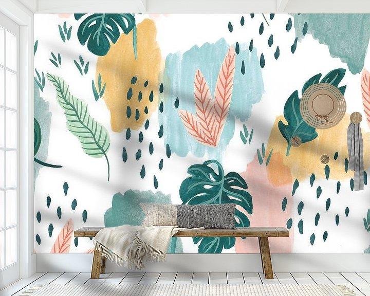 Sfeerimpressie behang: Jungle Hangout Pattern V, Laura Marshall van Wild Apple