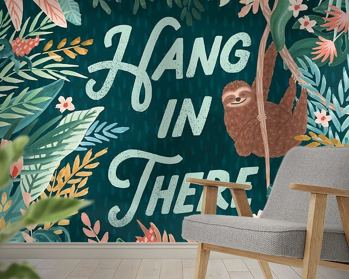 Sfeerimpressie behang: Jungle Hangout II, Laura Marshall van Wild Apple
