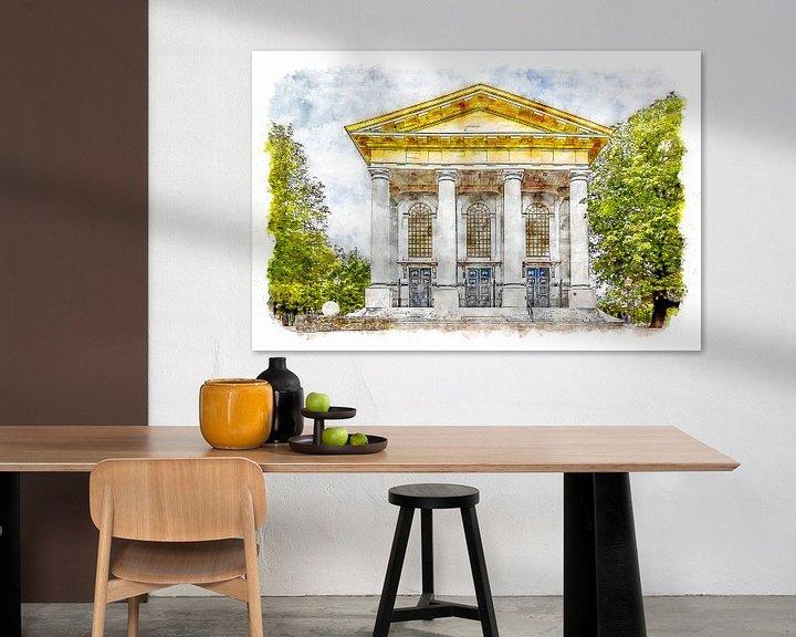 Sfeerimpressie: Nieuwe Kerk in Zierikzee (Zeeland) (aquarel) van Art by Jeronimo