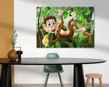 Aapje aan liaan in de jungle van Henny Hagenaars