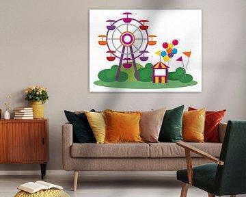 Kleurrijke kermis met reuzenrad van Henny Hagenaars