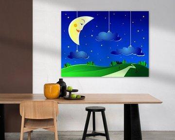 Halve maan met sterren en wolken voor kinderkamer van Henny Hagenaars