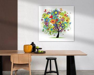 Kleurrijke fantasie boom van Henny Hagenaars