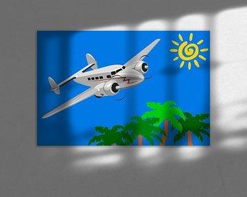 Flugzeug landet auf tropischem Reiseziel von Henny Hagenaars