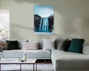 Skogafoss waterval IJsland van Prints by Abigail Van Kooten