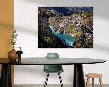 Nieuw-Zeeland - Queenstown - Enorme kloof met een kolkende rivier van Rik Pijnenburg
