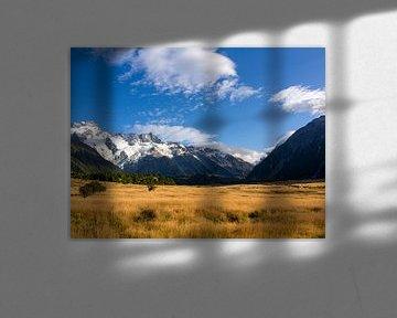 Typische neuseeländische Landschaft in der Nähe des Mount Cook Nationalparks von Rik Pijnenburg