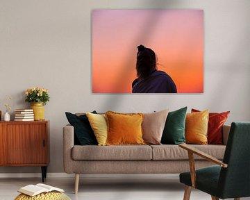 India - Jaipur - Een hindoepriester en een oranje zonsondergang van Rik Pijnenburg