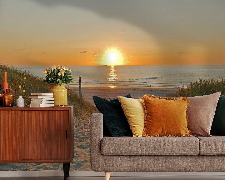 Beispiel fototapete: Sonnenuntergang am Meer von Wim van der Geest
