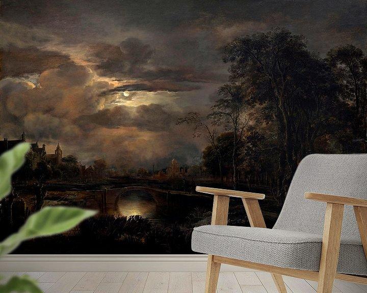 Beispiel fototapete: Mondbeschienene Landschaft mit Brücke, Aert van der Neer