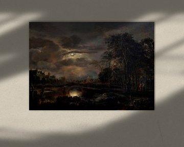 Mondbeschienene Landschaft mit Brücke, Aert van der Neer
