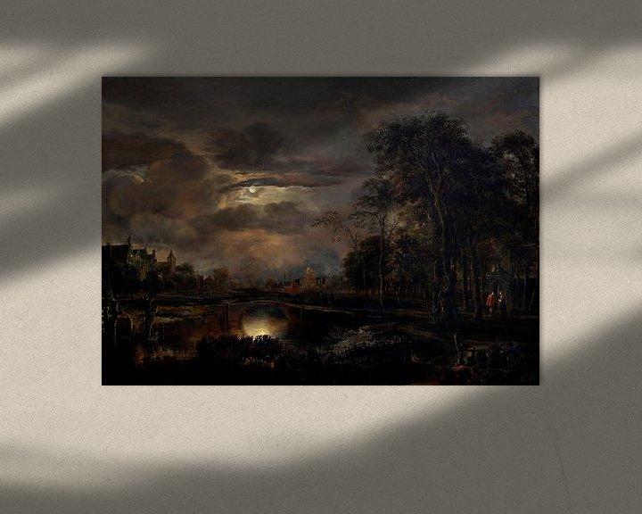 Beispiel: Mondbeschienene Landschaft mit Brücke, Aert van der Neer