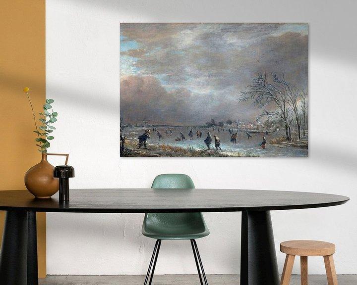 Beispiel: Winterlandschaft mit Schlittschuhläufern auf einem gefrorenen Fluss, Aert van der Neer