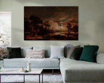 Mondbeschienene Landschaft mit Blick auf die neue Amstel und Schloss Kostverloren, Aert van der Neer