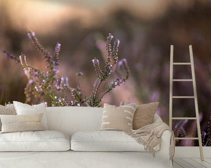 Sfeerimpressie behang: Bloeiende paarse heide bloemen op de veluwe van Karijn | Fine art Natuur en Reis Fotografie