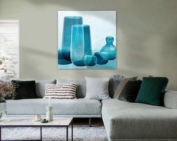 Vazen en schalen, mediterraan glas in transparante blauwtinten van Color Square