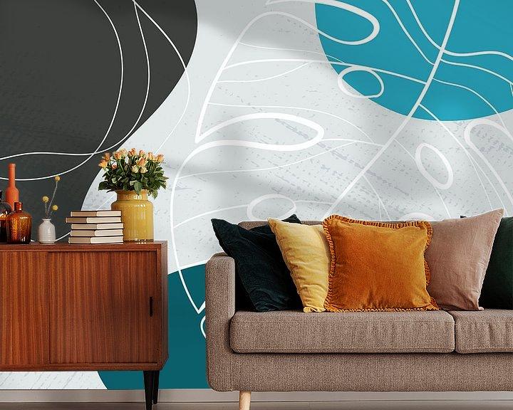 Sfeerimpressie behang: Stilistische bladeren, vormen en lijnen: blauw, grijs en petrol van Color Square
