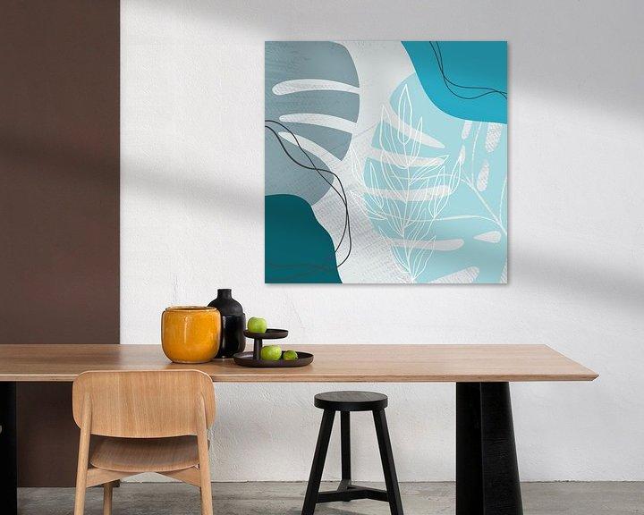 Beispiel: Stilistische Blätter, Formen und Linien: Blau, Grau und Petrol von Color Square