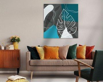 Stilistische Blätter, Formen und Linien: Blau, Grau und Petrol von Color Square