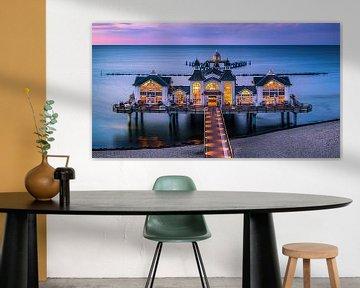 Panorama zonsondergang Sellin Pier, Rügen, Duitsland van Henk Meijer Photography