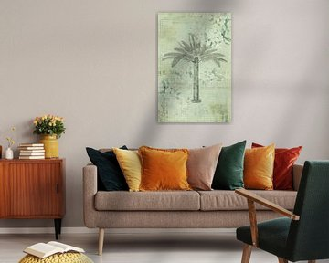 Palmboom nostalgie collage van Andrea Haase