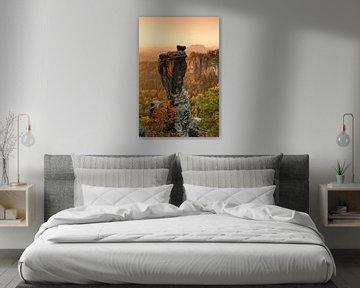 Wehlnadel bij zonsopgang, Bastei, Saksen van Markus Lange