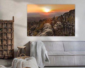 Schrammsteine bij zonsondergang, Elbsandsteingebergte, Saksisch Zwitserland van Markus Lange