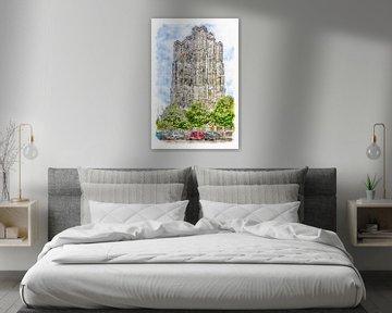 Der dicke Turm in Zierikzee (Aquarell) von Art by Jeronimo