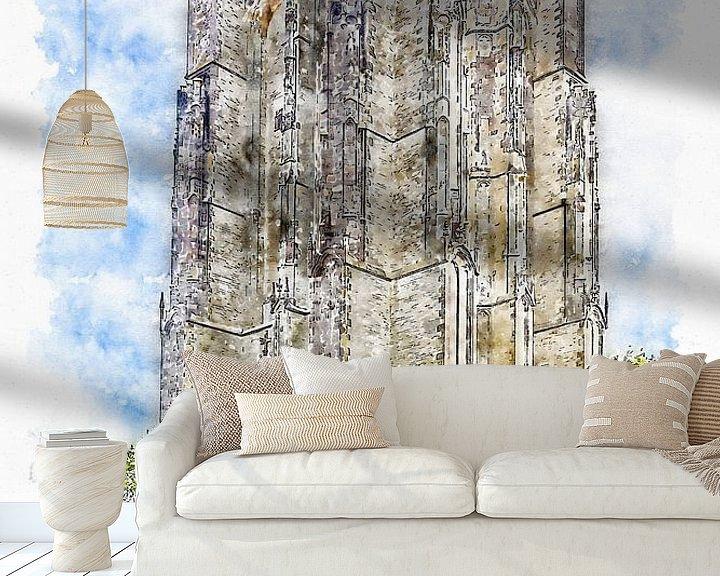 Sfeerimpressie behang: De Dikke Toren in Zierikzee (aquarel) van Art by Jeronimo