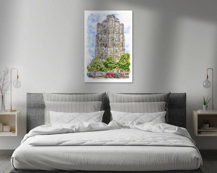 Sfeerimpressie: De Dikke Toren in Zierikzee (aquarel) van Art by Jeronimo
