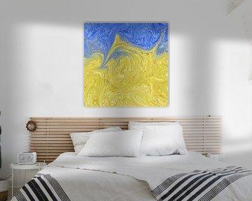 Blauw geel abstract van Maurice Dawson