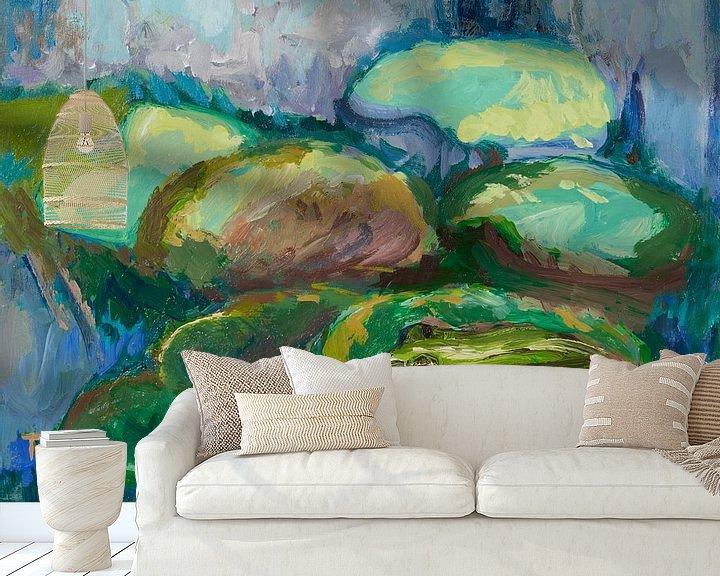 Sfeerimpressie behang: Kikker in vijver van Tanja Koelemij