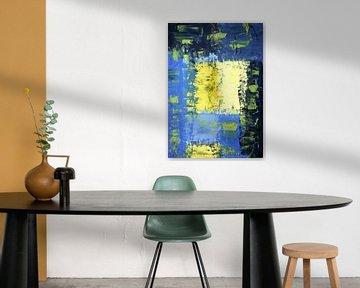 Vierkanten III in blauw, geel en zwart van elha-Art