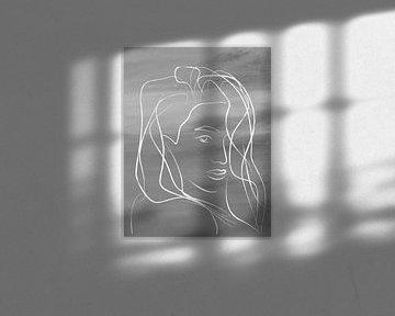 Porträt Frau schwarz-weiß von Nicole Habets