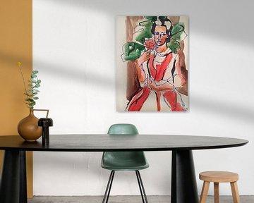Girl with the Red Dahlia van Helia Tayebi Art